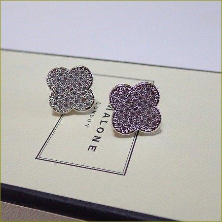 Cz Diamond  clover pavet pierce&earr...