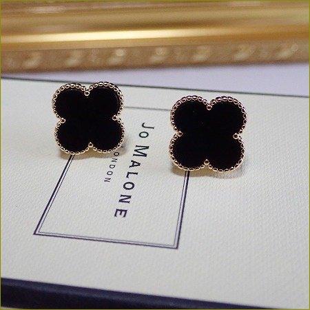 3/27(月)〜順次発送 clover onyx pierce&earring(大)(ゴールド)