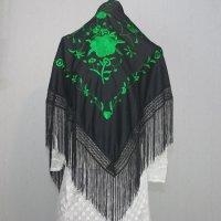 刺繍入りピコシージョ アムンゼン生地 150cm×75cm ブラック×グリーン