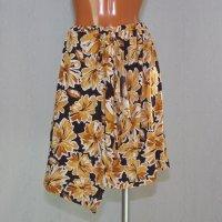 ラップスカート風のオーバースカート 花柄ブラウン