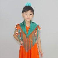 子ども用 水玉刺繍のマントンシージョ グリーン