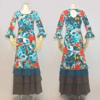 Oパックワンピース7分袖 4段フリル 花柄 オレンジ/エメラルド