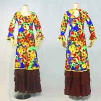 Oパックワンピース7分袖 4段フリル 花柄 ブルー/イエロー
