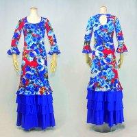 Oパックワンピース7分袖 4段フリル 花柄 レッド/ブルー