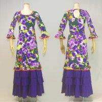 Oパックワンピース7分袖 4段フリル 花柄 ピスタチオ/パープル