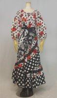 ティアードラップスカート レース飾り付き ホワイト&ブラック