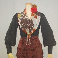 パニュエロ(スカーフ) 弓型 花柄模様 124cm×27cm