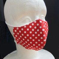 コットン素材のRD×WH水玉マスク(インナーマスク付き)