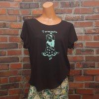 マツコのレッスンTシャツ ブラック×ミント  絵柄:C(カスタネット)