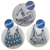 全3柄 フラメンコシューズ バッグ ストレッチ素材 ブルー系の柄