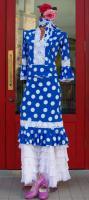 ベルト付きショートスカート レース飾り付き D35 BL×WH