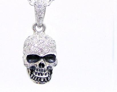 Silver925 Poison Skull Pendant Top w/Capsule White/ポイズン スカル ペンダント トップ ホワイト