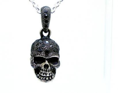 Silver925 Poison Skull Pendant Top w/Capsule Black/ポイズン スカル ペンダント トップ ブラック