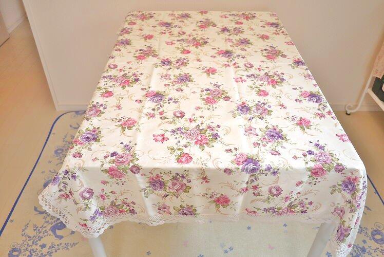 50%OFF!!テーブルが華やかに♪発色キレイなローズのテーブルクロス Purple