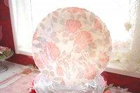 値下げ!可愛い花柄のペア食器 ピンクローズとブルーフラワーのお皿 パスタやカレーに