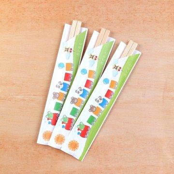 こども用割箸 50膳入【きかんしゃ柄】短い袋入りのお箸/かわいいどうぶつの絵柄/ご家庭使いにもピッタリ