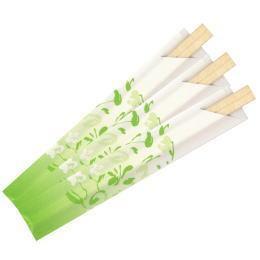 フラワー角切箸8寸02緑色*爽やかなグリーン地・長めの箸袋・1000膳