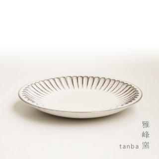 丹波立杭焼 雅峰窯 しのぎ6寸皿 ホワイト