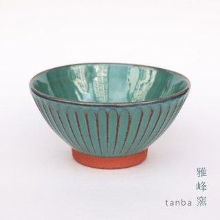 丹波立杭焼 雅峰窯 しのぎ茶碗 ブルー