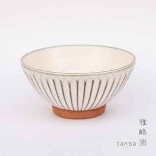 丹波立杭焼 雅峰窯 しのぎ茶碗 ホワイト