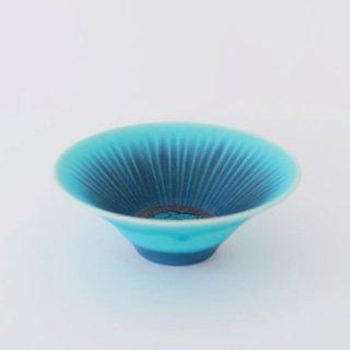 和田山真央 4.5寸 トルコブルー藍流し浅鉢