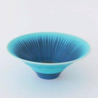 和田山真央 6寸 トルコブルー藍流し浅鉢