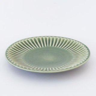 丹波焼 雅峰窯 しのぎ7寸皿 新緑
