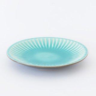 丹波焼 雅峰窯 しのぎ6寸皿 トルコブルー