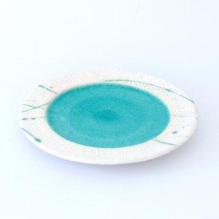 丹波焼 市野健太 雅峰窯 6寸トルコブルーリム皿
