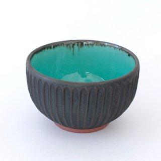 丹波焼 雅峰窯 4寸しのぎ碗 トルコブルー/黒