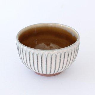 丹波焼 雅峰窯 4寸しのぎ碗 黄