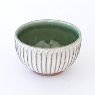 丹波焼 雅峰窯 4寸しのぎ碗 緑