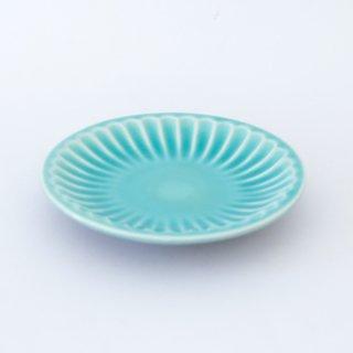 丹波焼 雅峰窯 しのぎ5寸皿 トルコブルー