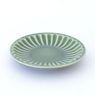 丹波焼 雅峰窯 しのぎ5寸皿 緑
