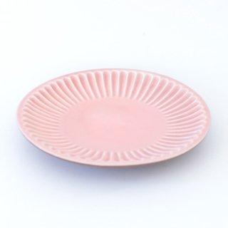 丹波焼 雅峰窯 しのぎ7寸皿 ピンク