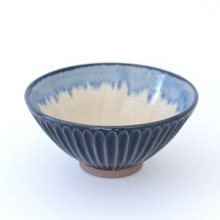 丹波焼 雅峰窯 しのぎ5寸鉢 瑠璃