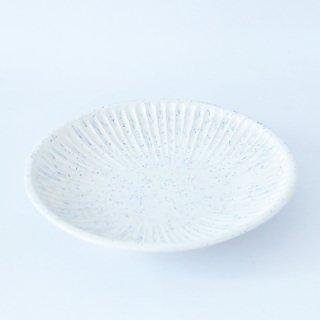 上中剛司 稲右衞門窯 丹波焼 しのぎ8寸皿(white)