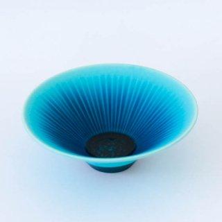 和田山真央 7寸 トルコブルー藍流し浅鉢