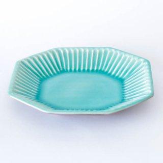丹波焼 雅峰窯 八角皿 トルコブルー