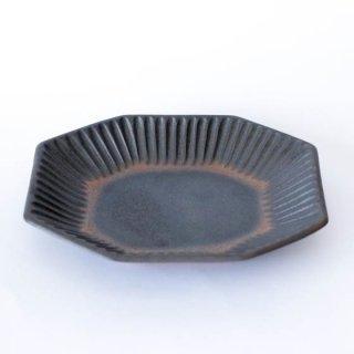 丹波焼 雅峰窯 八角皿 黒