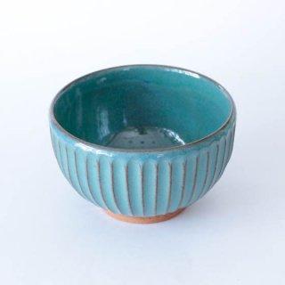 丹波焼 雅峰窯 4寸しのぎ碗 青