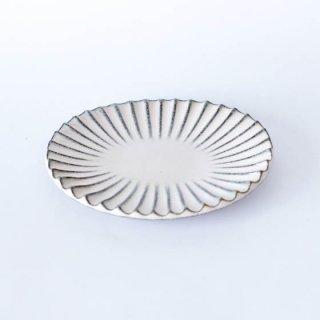 丹波焼 雅峰窯 楕円小皿 白