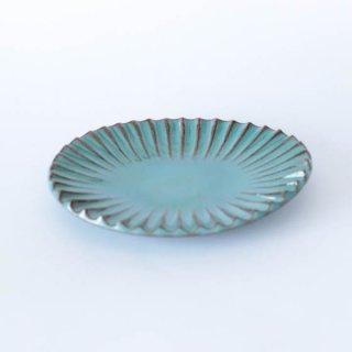 丹波焼 雅峰窯 楕円小皿 青