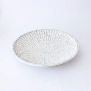 上中剛司 稲右衞門窯 丹波焼 しのぎ7寸皿(white)