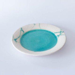 丹波焼 雅峰窯 市野健太 トルコブルーリム皿 6寸