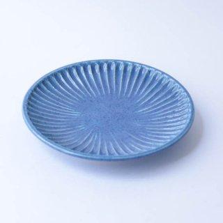 上中剛司 稲右衞門窯 丹波焼 しのぎ6寸皿(blue)