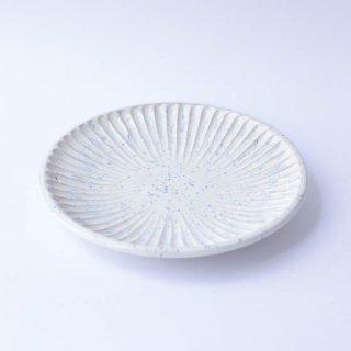 上中剛司 稲右衞門窯 丹波焼 しのぎ6寸皿(white)