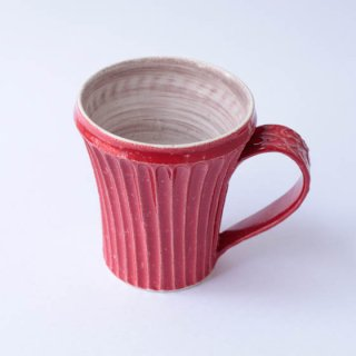 上中剛司 稲右衞門窯 丹波焼 しのぎマグarabesque(red)