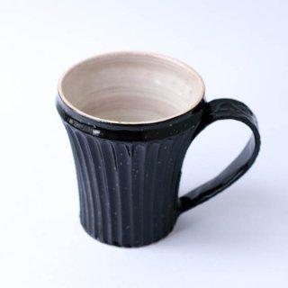 上中剛司 稲右衞門窯 丹波焼 しのぎマグarabesque(black)