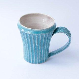 上中剛司 稲右衞門窯 丹波焼 しのぎマグarabesque(L.blue)